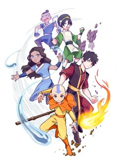 Katara, Sokka, Toph, Aang, and Zuko