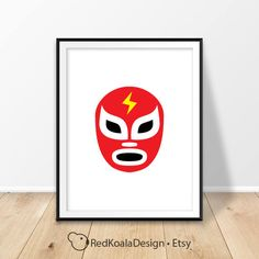 Luchador mask print, Lucha libre print, Digital prints, Mexico decor, Mexican wrestling, Lucha masks, Gift for him, Printable art, Download by RedKoalaDesign on Etsy