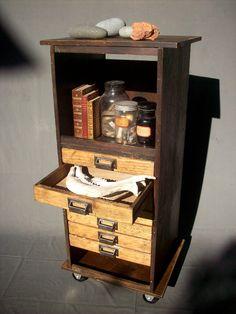 Collectors 7 Drawer Wood Cabinet with Steel Wheels / Urban Archeologist / Curiosities Storage / Book Shelf