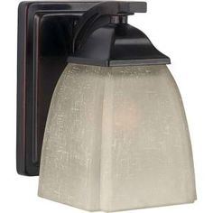 Illumine, 1-Light Antique Bronze Wall Sconce with Umber Linen Glass, CLI-FRT2189-01-32 at The Home Depot - Mobile
