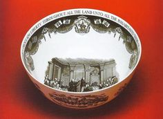 Queen's ware bowl printed after a design Price in 1959 and commemorating the signing of the Articles of Federation at Philadelphia on July 9, 1778.