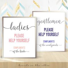 Hospitality Basket Bathroom Wedding Sign Ladies Gents Room Please Help  Yourself Gentlemen Mens Toilet Washroom Powder Restroom DIGITAL By  HandsInTheAttic