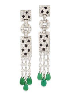 EMERALD, ONYX AND DIAMOND 'PANTHÈRE' EARRINGS, CARTIER Diamond Earrings, Pearl Earrings, Drop Earrings, Cartier, Art Deco Diamond, Heart Locket, Gemstone Colors, Pendants, Jewels