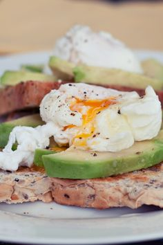 Poached egg on avocado on toast. Mmm. | This doesn't really need to be said, but this is delicious.