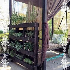 Herb garden and day bed Outdoor Rooms, Outdoor Living, Outdoor Decor, Unique Gardens, Amazing Gardens, Palette Art, Pallet Designs, Rustic Cabin Decor, Deck Decorating