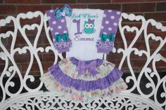Owl Birthday Outfit! Baby Girl First Birthday Outfit/Owl Birthday outfit/First birthday outfit/Purple Owl Outfit/Look Who's One/Owl outfit by RuffleDarlings on Etsy https://www.etsy.com/listing/229001421/owl-birthday-outfit-baby-girl-first