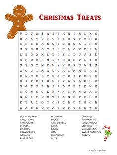 Christmas Foods Word Search This free Christmas printable word search includes some of the special foods of the holidays. Have fun looking and get ready for the celebration to come.