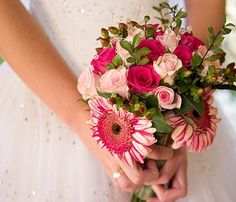 Splendid Blooms Wedding Bouquet  Daisy Gerberas, Roses, and Hypericum Berries