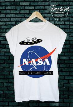 NASA never a straight answer alien ufo unisex by FreebirdApparelUK Nasa, Alien Crop Top, Mug Designs, Cool Designs, Clothing Hacks, Tee Shirts, Tees, Cotton Tee, Cute Outfits