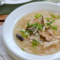 Chicken sotanghon soup is a Filipino style chicken bean thread noodle soup. Similar to regular chicken noodle soup, this uses a different type of noodle.