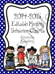 Editable Monthly Behavior Charts for 2014-2015 ! Enter for your chance to win 1 of 10.  Behavior Charts (15 pages) from Kelly Avery, W. T. Lewis Elementary, Bossier City, Louisiana on TeachersNotebook.com (Ends on on 6-9-2014)  These behavior charts were created to align with my school district�s academic calendar. I have uploaded the file in two formats (editable PowerPoint and PDF) in the event you need to customize it for your school district. I have included important dates and holidays…