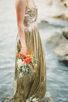 Add a little sparkle + shine to your wedding with a non-traditional wedding dress. So chic and stylish for a modern themed day!