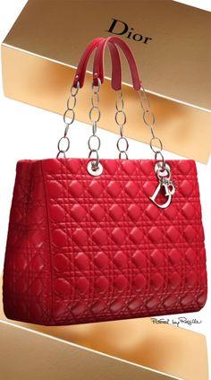 Dior ~ Soft Large Leather Shopping Bag, Crimson Red. 2015 via Regilla
