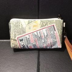 zip pouch newspaper cosmetic pouch gadget pouch by KatunKatunBags