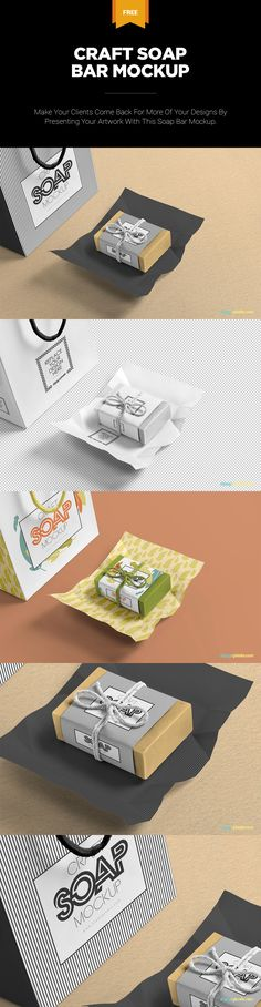 Present your designs amazingly with this real looking craft soap mockup. #free #freebie #mockup #psd #photoshop #packaging #craftsoap #bar #soap #branding