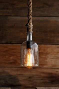 The Cast Away Pendant Light – Glass Bottle Industrial Rope Lights – Swag Ceiling Lamp – Accent Hanging Lighting – modern Rustic fixture - All For Decoration Diy Pendant Light, Pendant Lighting, Bar Pendant Lights, Glass Bottle Crafts, Glass Bottles, Bottle Lights, Unique Lighting, Lamp Design, Ceiling Lamp