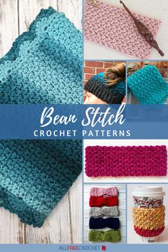Find a bean stitch crochet hat, blanket, bag, or just about any project you'd like with this collection of 23 Bean Stitch Crochet Patterns! Crochet Stitches Free, Quick Crochet, All Free Crochet, Afghan Crochet Patterns, Stitch Patterns, Crochet Hats, Crochet Throws, Beginner Crochet Projects, Crochet Dishcloths