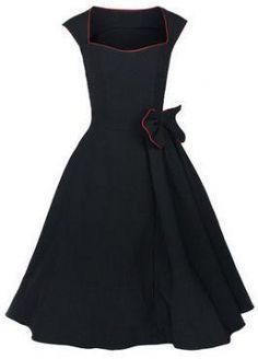 50s style clothes rockabilly dresses pin-up dresses plus sizes large stretch cotton long womens black blue red cocktail party $36.81