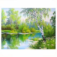 Diamond Painting Cross Stitch Kit Forest Creek in Spring Scene:Craftar