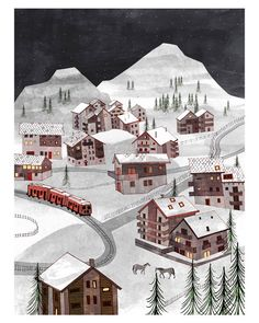 A lovely wintery scene. The Longest Train Ride to Zermatt l. $25.00, via Etsy.