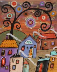 Sweet Spot 11x14inch ORIGINAL CANVAS PAINTING Folk Art Houses Tree Karla Gerard #FolkArtAbstractPrimitive