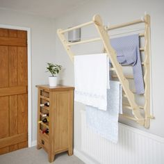 Wall Fixed Pine Laundry Drying Rack - bathroom Wall Mounted Clothes Airer, Wall Mounted Drying Rack, Wooden Drying Rack, Drying Rack Laundry, Drying Racks, White Towels, White Furniture, White Bathroom, Bathroom Accessories