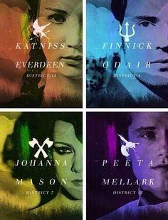Katniss Everdeen, Finnick Odair, Johanna Mason and Peeta Mellark. #alliance #CatchingFire #Mockingjay