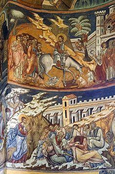Naos de la Iglesia de San Nicolás del Monasterio de Probota, frescos con escenas bíblicas y leyendas, patrimonio de la humanidad, del sur de Bucovina, Moldavia, Rumania, Europa