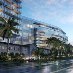 Richard Meier Unveils First Florida Beach Project, Now Underway,View of The Surf Club from Collins Avenue. Image © dbox for Fort Capital / Richard Meier & Partners