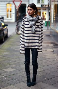 Leather pants, striped oversized shirt, grey scarf.  Love this simple outfit.