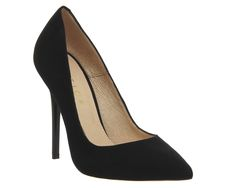 Office | Classic pointed court shoes with a black suede upper and slim stiletto heel