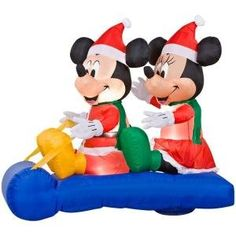 LED Lighted Mickey and Minnie's Sleigh Airblown Inflatable Christmas Lawn Decoration Christmas Sled, Christmas Yard Art, Mickey Christmas, Outdoor Christmas, Sled Decor, Disney Christmas Decorations, Christmas Inflatables, Outdoor Halloween, Mickey Minnie Mouse
