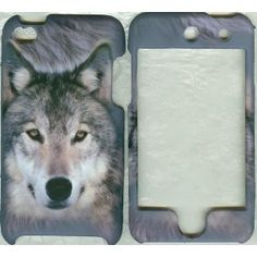 Gray wolf rubberized hard case snap on cover apple iPod touch 4 4th generation