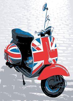 Vespa Scooter - Mod Decoration, Pop Art Print by ArtPrints