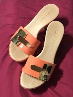 3d43b1c532cc Gloria von Furstenberg 252 sandal peach gold wooden heel size 7 shoes   fashion  clothing  shoes  accessories  womensshoes  heels