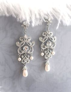 Deco Earrings Vintage Style Bridal Earrings by LottieDaDesigns, $58.00