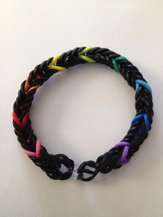 Rainbow Black Bracelet - rainbow loom, bands, fishtail  #MichaelsRainbowLoom