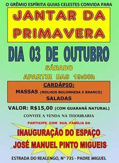 O Grêmio Espírita Guias Celestes Convida para o Jantar da Primavera Beneficente - Padre Miguel - RJ - http://www.agendaespiritabrasil.com.br/2015/10/02/o-gremio-espirita-guias-celestes-convida-para-o-jantar-da-primavera-beneficente-padre-miguel-rj/