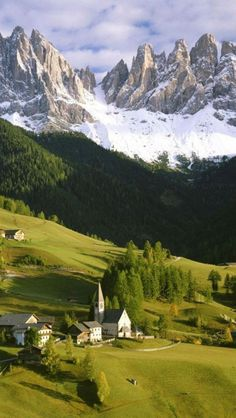 St Magdalena Village, Val Di Funes, South Tirol, Italy---skiied near here in the Dolminites, have a woodblock etching that looks very similar, never get tired of the view