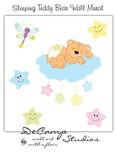 Sleeping Baby Teddy Bear Wall Mural Decal for baby boy or girl nursery. Floating on a cloud surrounded by the night stars and lightning bug, little bear sleeps snuggly on a cloud #decampstudios