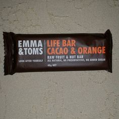 Emma & Tom's Life Bar Cacao & Orange, 11 mg sodium per bar, 28 mg sodium per 100 gm, cacao powder 5%, #sodium #vestibular #Menieres. Not sure if the cacao is safe for Ménière's sufferers.