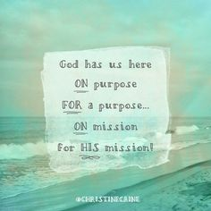 God has us here on purpose, for a purpose ... On mission for His Mission!