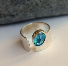 Swiss Blue Topaz Ring Sterling Silver Size 5 To 6 1/2 Ready To Ship. $145.00, via Etsy.