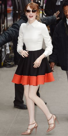@Who What Wear - Emma Stone Does Good Morning America In A Sweetly Feminine Dress