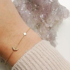 Star and moon bracelet, simple and minimal design