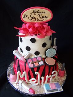 spa birthday party cakes | ... which piece of 'make-up' they wanted to add to their slice of cake
