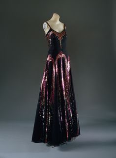 Evening dress, 1938 Gabrielle Coco Chanel (French, 1883–1971) Black silk net with polychrome sequins