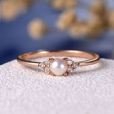 Cumpleaños regalo blanco perla Akoya anillo de compromiso de