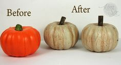 These are dollar store pumpkins! Distressed and aged with paint, the old orange styrofoam pumpkins are transformed into rustic distressed farmhouse style pumpkins! Dollar Tree Pumpkins, Dollar Tree Crafts, Diy Pumpkin, Pumpkin Crafts, Rustic Halloween, Halloween Crafts, Fall Halloween, Halloween Ideas, Halloween Stuff