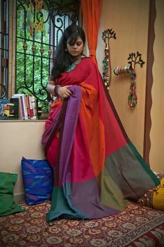 A very colorful handloom cotton saree Byloom Sarees, Indian Sarees, Saris, Indian Attire, Indian Outfits, Indian Clothes, Indian Wear, Soft Silk Sarees, Cotton Saree